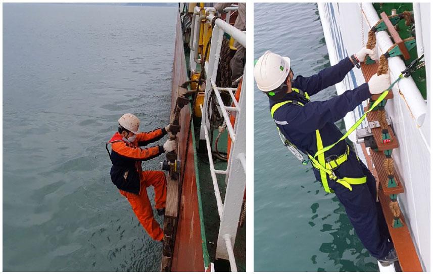 Remotely Controllable ship embarkment / disembarkment ladder fixing equipment[RPLF-900]